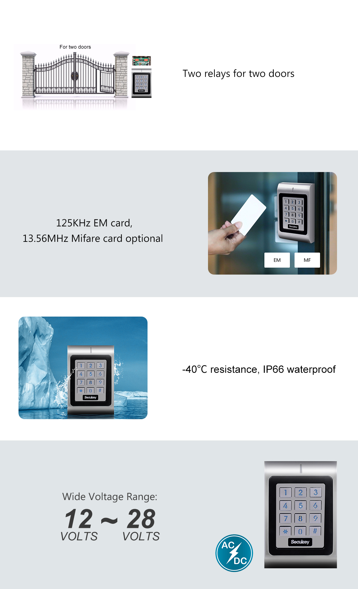 Secukey sk1-w Control Acceso Standalone IP66 rel/é apriporta Integrado RFID//Pines Plateado